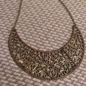 Carved metal collar necklace with chain